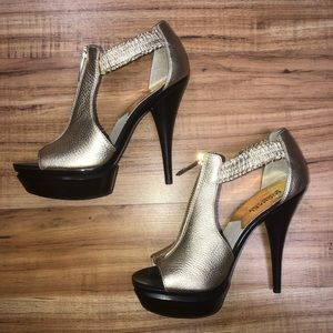 Michael Kors Gold Brown Stiletto Heels 7